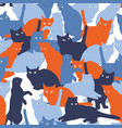 seamless pattern with cats in military style vector image