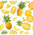 seamless pineapple fruit tropical texture tropic vector image vector image