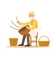 senior man weaving baskets craft hobby or vector image vector image