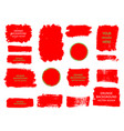 set of red paint ink brush strokes brushes vector image vector image