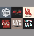 set of six new york t-shirt and apparel designs vector image vector image