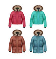 set of winter coats vector image vector image