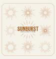 set sun burst vintage lines design vector image vector image