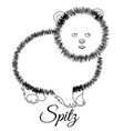 spitz dog outline vector image vector image