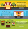 street food banner horizontal set flat style vector image vector image