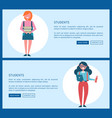 students on internet informative promotional page vector image