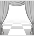 theatrical template with white curtains vector image vector image