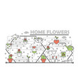 thin line art home flowers poster banner vector image