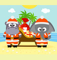 tropical christmas background with animals vector image
