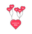 valentine s day sale with flying heart on balloon vector image vector image