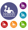 water polo icons set vector image vector image