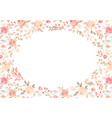 watercolor pink flower plant border white paper vector image vector image
