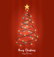 year red xmas pine tree light card vector image