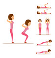 young woman is exercising at home fitness vector image vector image