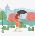 young woman walking with umbrella in park vector image