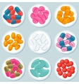 Assortment of pills and capsules in container vector image