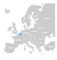 belgium marked by blue in grey political map of vector image