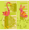 flamingo and rabbit vector image