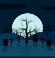 a lonely tree in the cemetery at night vector image