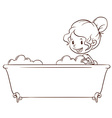 A simple sketch of a girl at the bathtub vector image