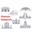ancient temples indonesia and vietnam icons vector image