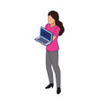 avatar woman holding a laptop computer icon flat vector image vector image