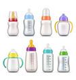 baby milk feeding bottles 3d mockup templates vector image