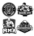 badge boxing club set vector image vector image