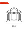 bank icon thin line vector image vector image