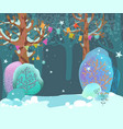 beautiful cozy winter landscape forest fancy vector image vector image