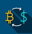 bitcoin dollar flat icon vector image vector image