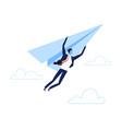 businessman flying on paper plane startup vector image