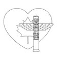 canadian wooden totem with flag and heart vector image vector image
