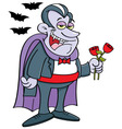 Cartoon vampire holding roses vector image vector image