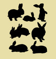 cute rabbits silhouette vector image vector image