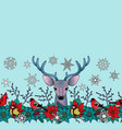 deer and birds winter seamless border vector image vector image