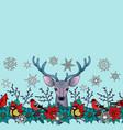 deer and birds winter seamless border vector image
