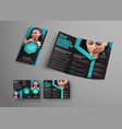 design a triple folding brochure with blue vector image vector image