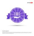 dollar in hand icon - purple ribbon banner vector image