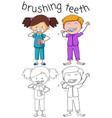 doodle boy and girl brushing teeth vector image