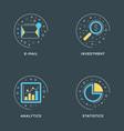 e-mail investment analytics statistics set of 4 vector image
