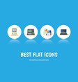 flat icon laptop set of notebook computer mouse vector image vector image