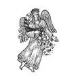 fortuna greek goddess sketch engraving vector image