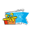 gift box present with commercial tag hanging vector image vector image