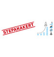 grunge stepanakert line seal with collage rocket vector image vector image