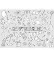 Happy birthday doodles objects drawing by hand vector image vector image