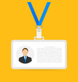identification card for man trendy flat lanyard vector image vector image
