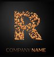 letter r logo gold dots alphabet logotype vector image vector image