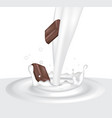 milk splash with chocolate vector image