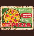 pizza and pizzeria italian metal plate rusty menu vector image vector image